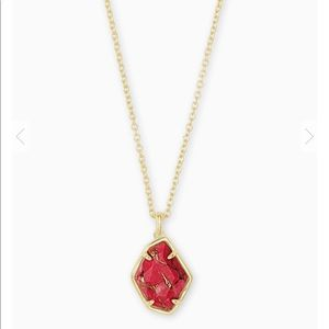 Kendra Scott Ellington Gold Pendant Necklace Red